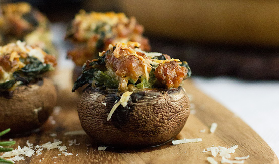Spicy Sausage & Spinach Stuffed Mushrooms by Brittany Stager