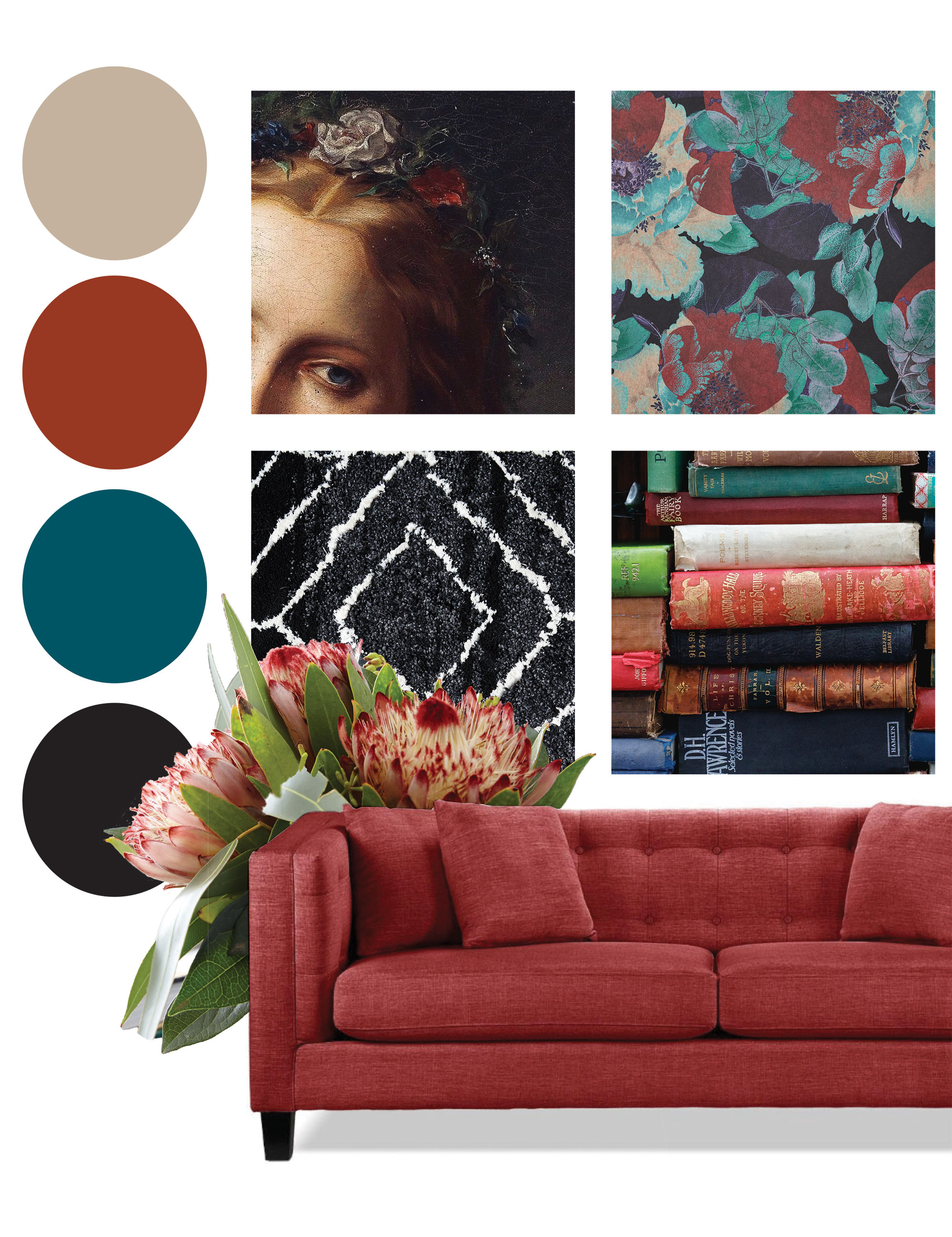 Red mood board for a living room