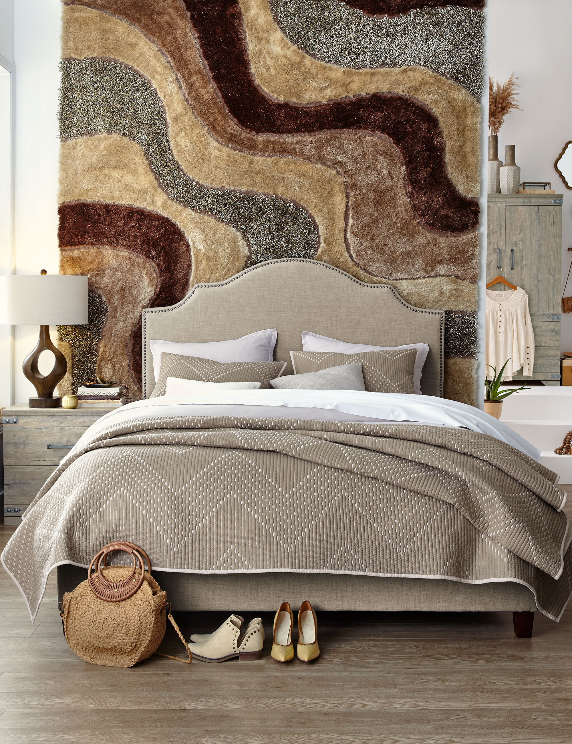 Master bedroom decorating ideas boho decor rug on a wall